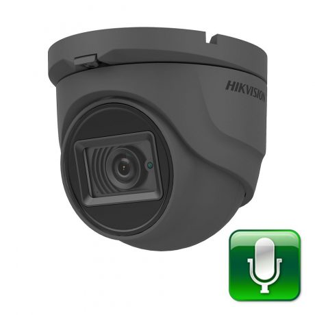 DS-2CE76H0T-ITMFS Grey Hikvision 5MP turret CCTV camera with microphone